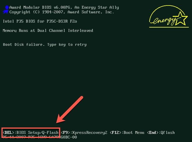 ورود به تنظیمات بایوس - فایل گپ