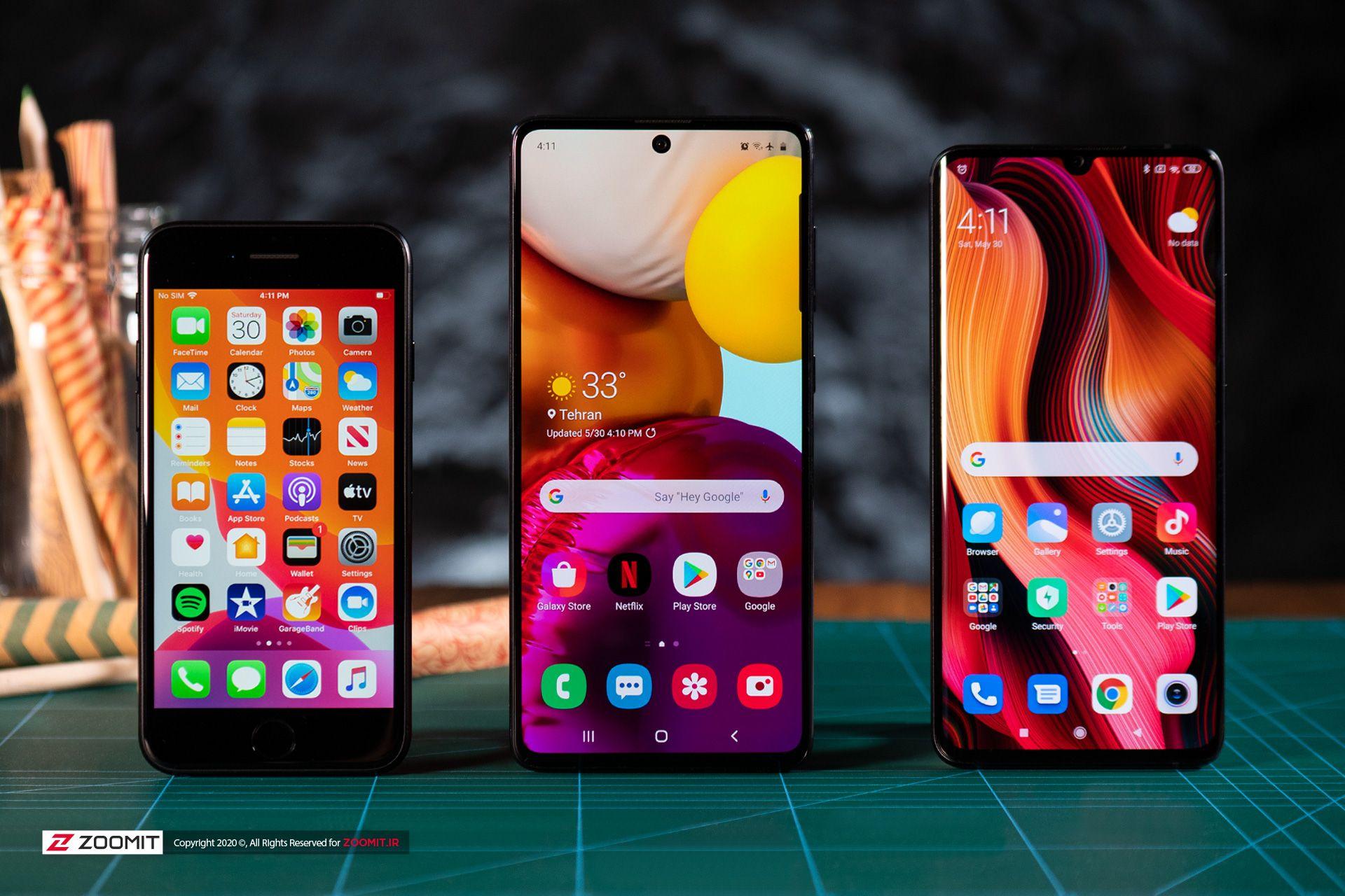 اپل آیفون SE 2020 با شیائومی می نوت 10 و سامسونگ گلکسی A71