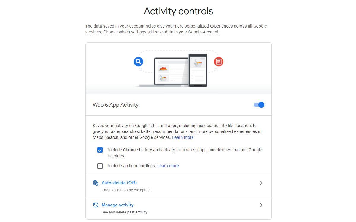 مدیریت دادههای شخصی در حساب گوگل