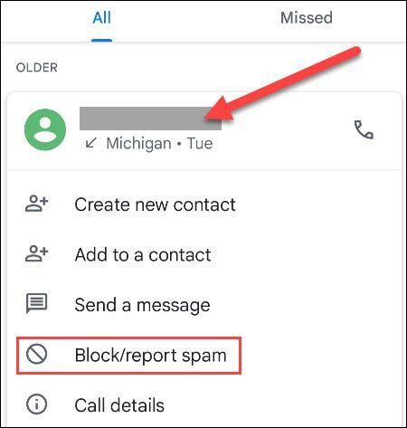 Block Report Spam در گوگل فون