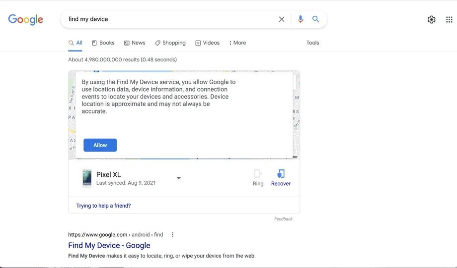 FIND YOUR PHONE در  جستجوی گوگل