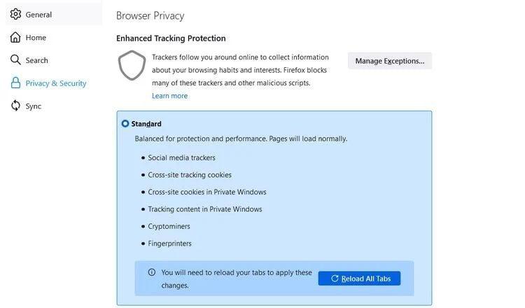 تنظیمات Enhanced Tracking Protection