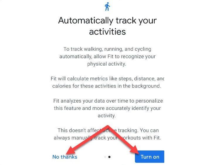 تنظیمات اولیه google fit