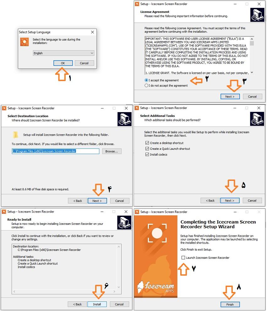 مراحل نصب IceCream Screen Recorder - فایل گپ