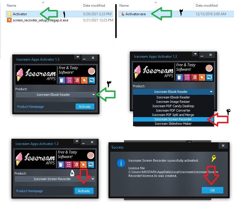 نحوه فعال سازی IceCream Screen Recorder - فایل گپ