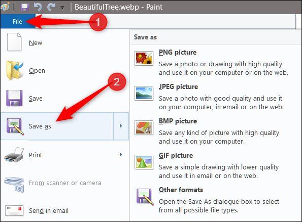 استفاده از مایکروسافت Paint/ذخیرهی تصاویر WebP با فرمت JPG و PNG