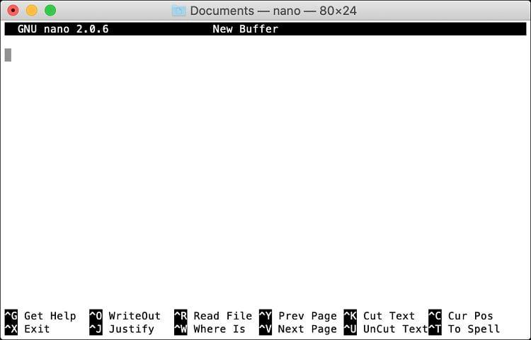 ویرایش یک فایل با nano در ترمینال مک