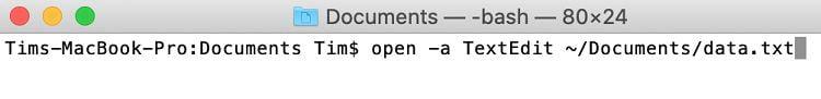 باز کردن یک فایل در ترمینال مک