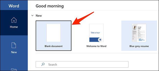 صفحه خالی  ورد Blank document