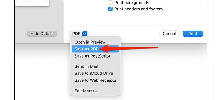 ذخیرهی ایمیل به شکل فایل PDF در مک سافاری