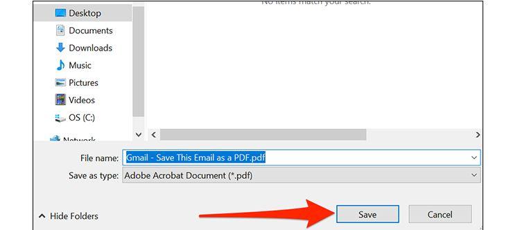 ذخیرهی ایمیل به شکل فایل PDF در ویندوز