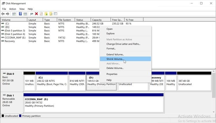 Disk Management tool ویندوز 10
