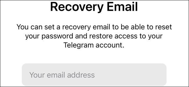 ایمیل ریکاوری تلگرام