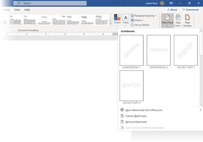 واترمارک در تب دیزاین