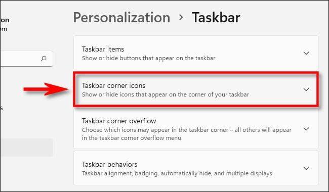 Taskbar Corner Icons در ویندوز ۱۱
